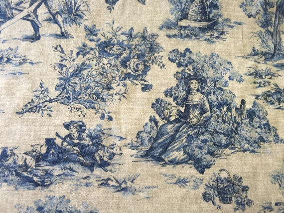 blue and natural toile upholstery fabric by the yard from shopmyfabrics on etsy studio. Black Bedroom Furniture Sets. Home Design Ideas