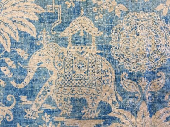 Moroccan elephant ocean blue elephant fabric upholstery for Elephant fabric