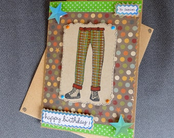 Handmade Funky Trousers Birthday card-For Him, Personalised, Any Occasion!