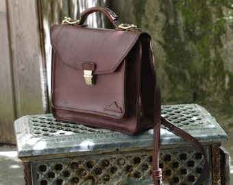 craft bag, purse, messenger, satchel, brown leather