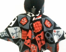 Baby Shower Gift - Infant Car Seat Poncho - Toddler Car Seat Poncho - Baby Car Seat Poncho - Hooded Fleece Poncho - Skull Car Seat Poncho
