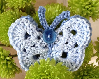 Crochet Blue Butterfly Brooch