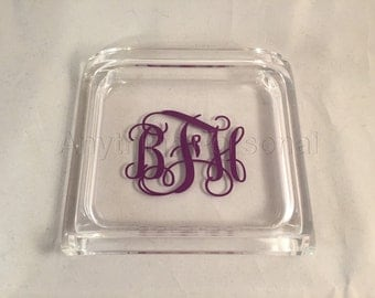 Personalized Acrylic Catchall Tray, Monogrammed Gift, Trinket Tray, Catchall Tray, Personalized Acrylic, Office Gift, Monogrammed Desk Tray