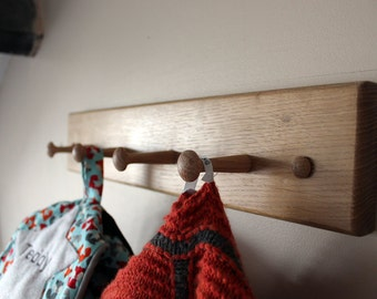 Hand Crafted Limed Oak Shaker Peg Coat Hook/Coat Rail