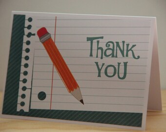 Teacher Thank You Card Set.  6 Pencil Note Cards. Teacher Note Cards.  Teacher Stationery.  Classroom Teacher Cards.  Notebook paper cards