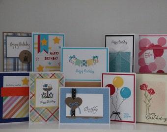 Birthday Card Set. 10 Happy Birthday Greeting Cards.  Birthday Card Assortment.  Handmade Birthday Cards.  Set of Blank Birthday Cards.