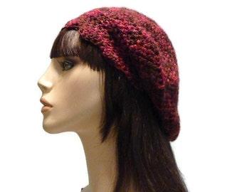 Crochet Slouchy Beanie, Burgundy Slouchy, Womens Baret, Crochet Winter Hat, Women, Teen