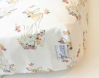 Floral Fawn | Standard Crib Sheet | Woodland Nursery | Baby Girl Bedding |