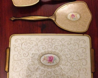 Vintage Vanity Set: Vintage Gold and Cream Rose Brush, Mirror, and Tray