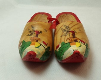 Vintage Miniature Genuine Dutch Wood Shoes signed Holland Handmade.  5-1200