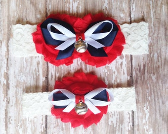 Red, Navy, and White Baseball Garter Set | Baseball Wedding Garters | Bridal Garter and Toss Garter