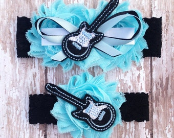 Something Blue Guitar Wedding Garters | Music Wedding Garters | Musician Bridal Garter and Toss Garter | Other Colors Available