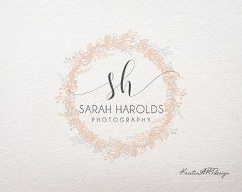 Circle logo, Initials watermark, Photography logo design, Leaves and flowers logo, Wreth logo 370