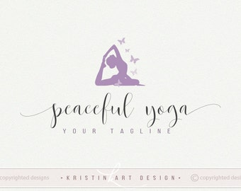 Yoga pose logo, Yoga watermark, Butterfly, Yoga training logo design 434