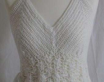 Handmade, Hand Crochet White Mini Dress.