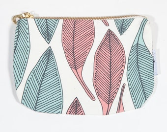 Botanical print cosmetic bag (lined) with gilded zip