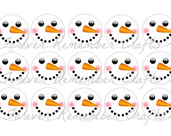 INSTANT DOWNLOAD Snowman Faces 1 Inch Bottle Cap Image Sheets *Digital Image* 4x6 Sheet With 15 Images