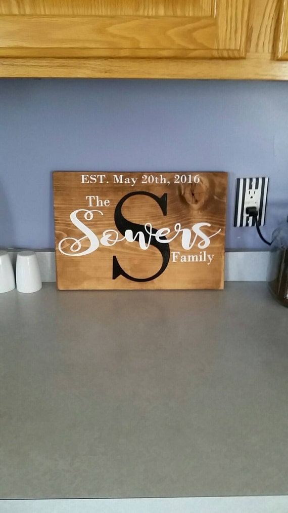 Home Decor Sign with LastFamily Name and Established Date