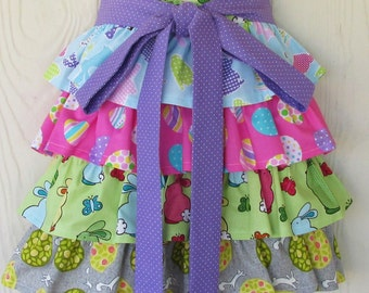 Easter Half Apron, Ruffles, Bunnies, Easter Eggs, Polka Dots, Waist Apron, KitschNStyle