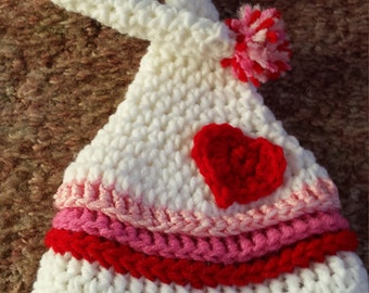 Valentines Day Baby Hat, White Newborn Hat