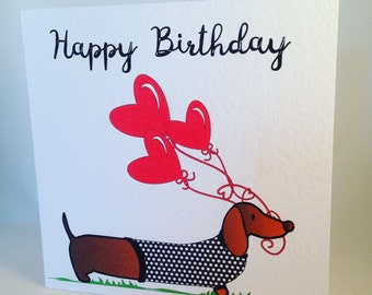 Dachshund Birthday Card - Doxie - Sausage Dog - Weiner - Balloons