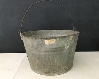 Round Tub - Vintage Galvanized Bucket - Barrel - Bin - Pail - Metal - Industrial - Farmhouse - Display - Metal Bucket - Home Decor - Prop