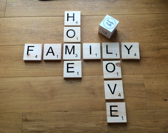 Large wooden letter tiles for words, names, phrases, wall hanging decor