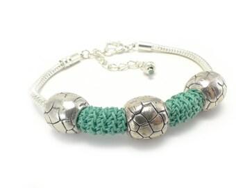 Green Crochet Bracelet [0065ba] Bracelet, Crochet Bracelet, Green Bracelet, Handmade Bracelet, Jewelry / Katarzyna Bodera Sandycraft