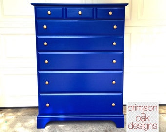 SOLD - Cobalt Blue Tall Dresser // Chest of Drawers // Painted Dresser // Navy and Gold // Blue and Gold // Vaughan-Bassett Dresser
