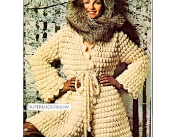 Vintage Coat crochet pattern in PDF instant download version , e-pattern