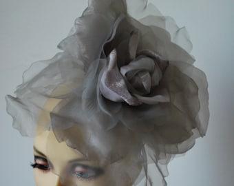 """Ava--- Silver Grey & Lilac silk 12"""" flower fascinator"""