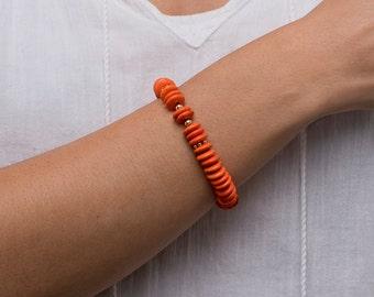 Orange Magnesite Heishi Beaded Bracelet/Orange beaded bracelet/Orange Bracelet