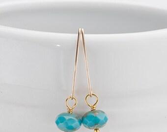 Turquoise Czech Glass Bead Earrings/Turquoise earrigs