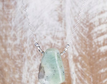 Green Agate Pendant Necklace/Moss Agate Pendant Necklace/Raw Agate Necklace/Green stone necklace
