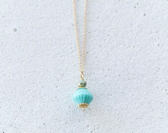 Tiny Turquoise Czech Glass Pendant necklace with gold accents/December birthstone