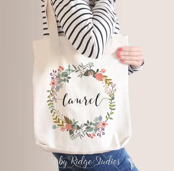 Floral Tote Bag Bridesmaid Tote Bag Bridesmaid Gift Floral ...