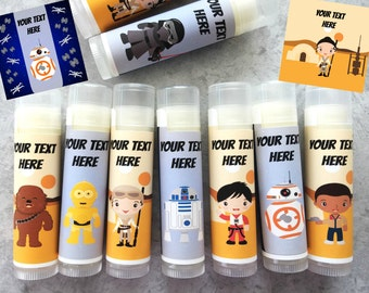 Space Wars Party Favors - Set of 5 - Star Theme - Customized Lip Balm - Kids Lip Balm - Free Customization - Lip Balm - Star Wars Wedding