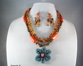 CORAL & SEAFOAM FLOWER Necklace with Earrings