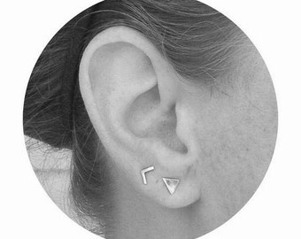 Set of Two Pair - Tiny Triangle Stud Earrings and Chevron Studs - Double Piercing Set - Sterling Silver Post Earrings