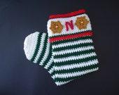 Christmas Stocking, crochet christmas sock, christmas decoration, crochet decoration - Red, Green or stripes - Cute christmas decor