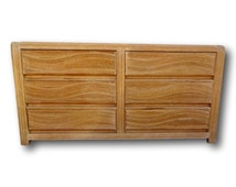 Vintage Pencil Reed Rattan Bamboo Waterfall Wave Motif Dresser Credenza Palm Beach Island Style Tropical