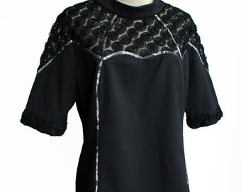 Black top, tunic, lace details, short sleeves