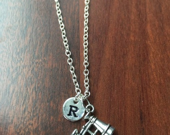 Binoculars initial necklace, binoculars jewelry, gift for bird watcher, camping jewelry, gift for camper, silver binoculars necklace