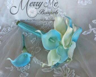 Aqua Bouquet - Aqua and White Bouquet - Aqua Calla Lily Bouquet - Real Touch Calla Lily Bouquet - Aqua and White Calla Lily Bouquet