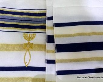 "TALIT Prayer Shawl messianic Christian model Hebrew and English 72""*22"" with Bag"
