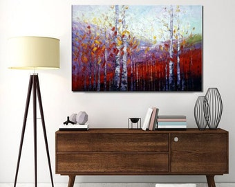 Large Canvas Art, Oil Painting, Wall Art, Modern Art, Abstract Art, Abstract Painting, Canvas Painting, Landscape Painting, Autumn Forest