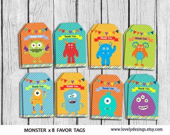 Monsters Favor Tags, Monsters Thank you tag, Little Monsters Gift Favors, Monsters Birthday Party,Party Favors ,PRINTABLE DIY