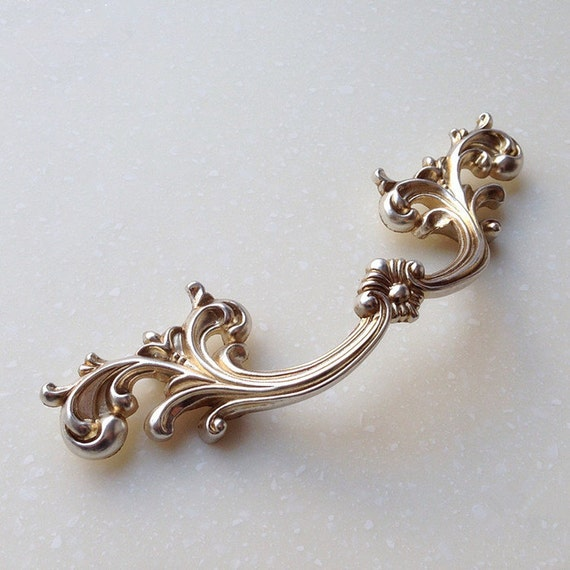 "3.75"" French Style Shabby Chic Dresser Drawer Pulls Handles / Antique Silver Kitchen Cabinet"