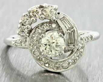 1930s Antique Art Deco 18k White Gold 0.45ct H-I VS1 Diamond Engagement Ring