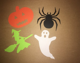 On SALE! Halloween Cut Outs From Card Stock, Witch, Ghost, Spider, Pumpkin Cut Outs, Party Cut Outs, Cut Outs